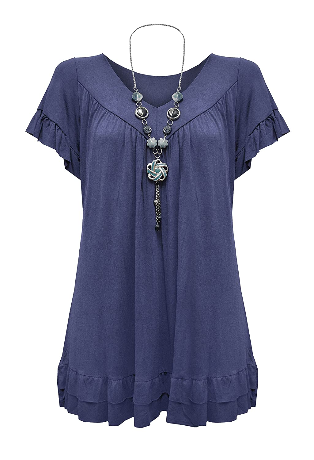 Womens Plus Size Frill Necklace Gypsy Tunic V Neck Top US 8-26