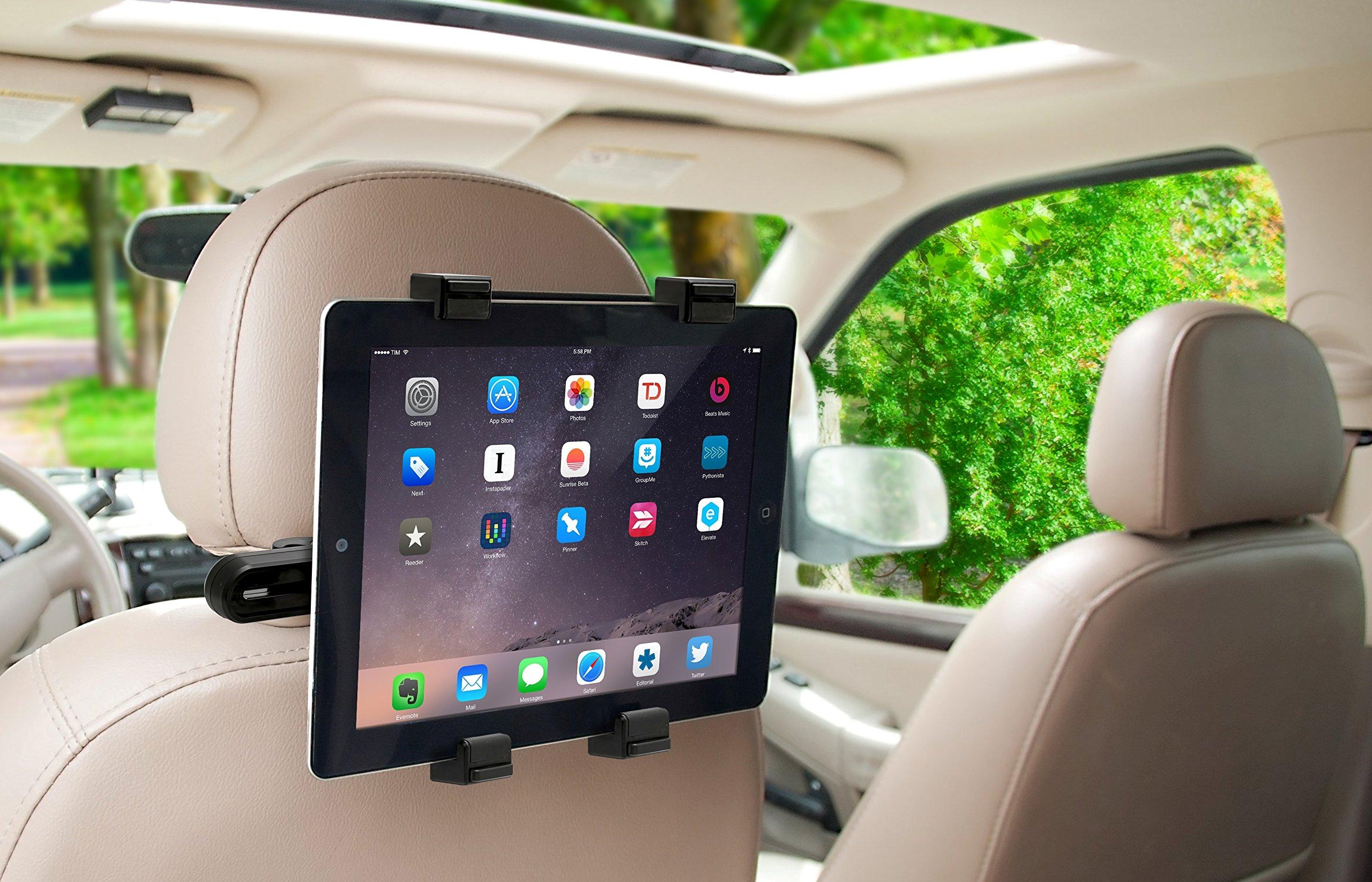 okra 360 degree adjustable rotating headrest car seat mount holder for ipad. Black Bedroom Furniture Sets. Home Design Ideas
