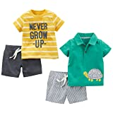 Simple Joys by Carter's Baby Boys' 4-Piece Playwear Set, Yellow Stripe/Green Turtle, 12 Months (Color: Yellow Stripe/Green Turtle, Tamaño: 12 Months)