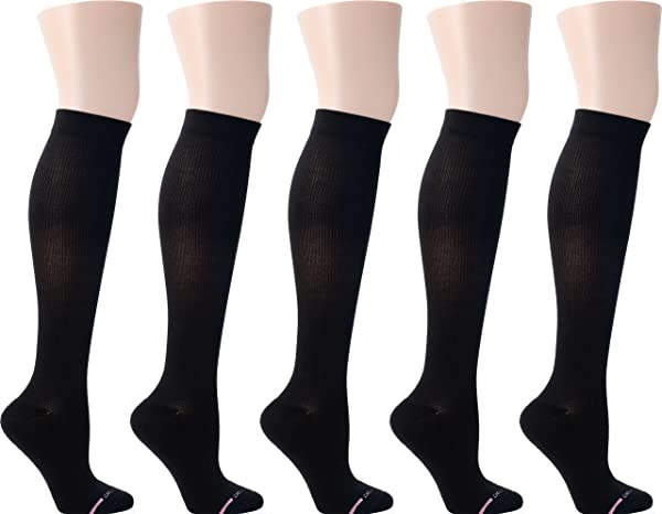 Dr. Motion Women's Half-Cushion Compression Socks 5 Pairs (Black) (Color: Black, Tamaño: later319)