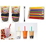 Wufuyuan - Black Tapioca Pearl 8.8 Oz (2 bag) + 50 Extra wide Fat Boba Drinking Straw + One NineChef Spoon Per Order (Tamaño: 1)