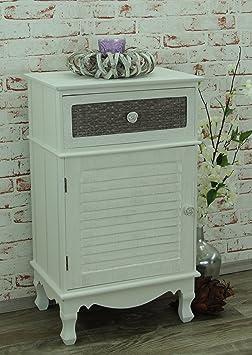 Cómoda con un cajón y puerta armario Blanco Multicolour Shabby Chic cómoda, New