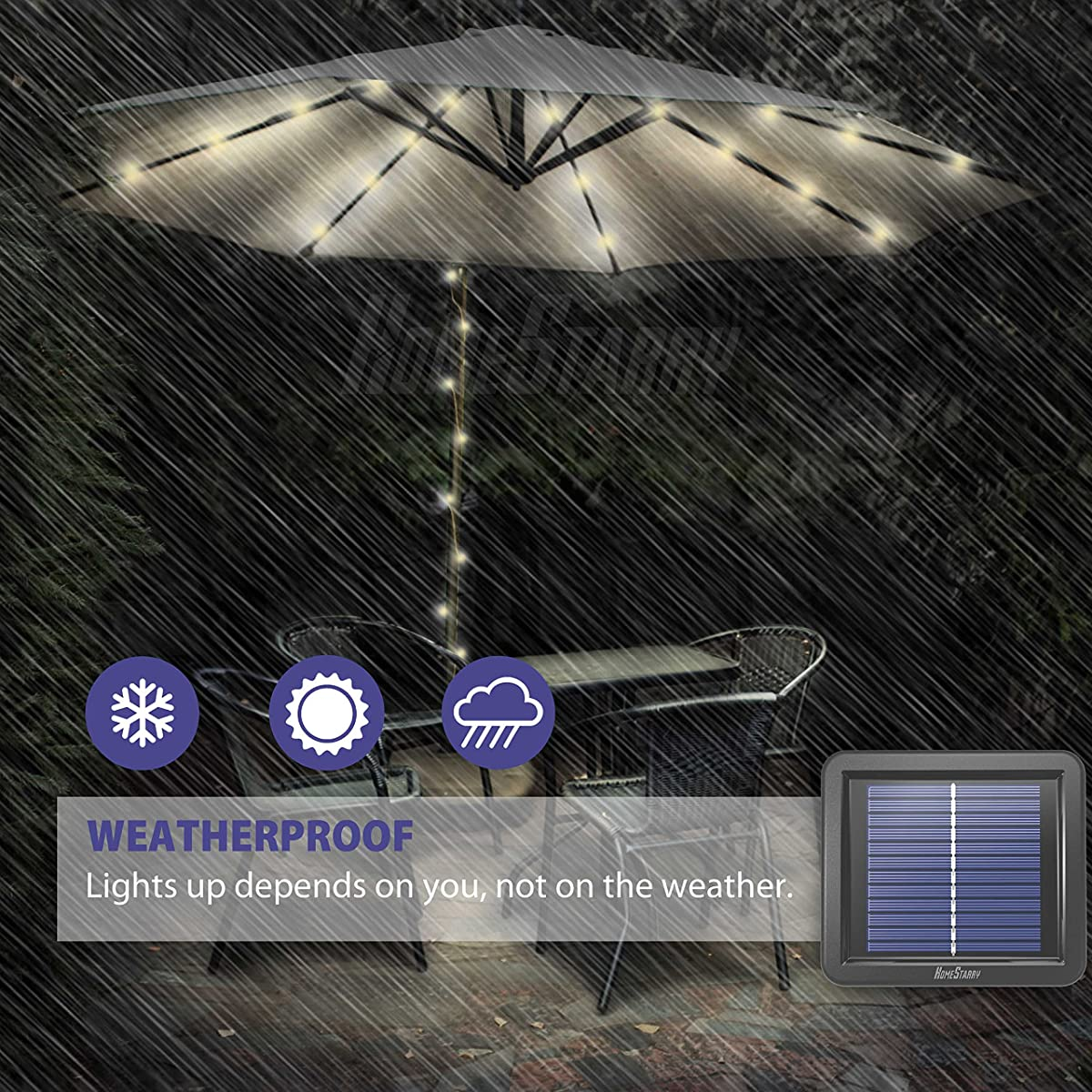 Homestarry Solar Powered String Lights, 300 LEDs 100 Ft with 8 Modes Remote, Tangle-Free Decorative Rope Lights, IP65 Waterproof Solar Lights for Outdoors, Garden, Patio, Parties,Christmas(Warm White)