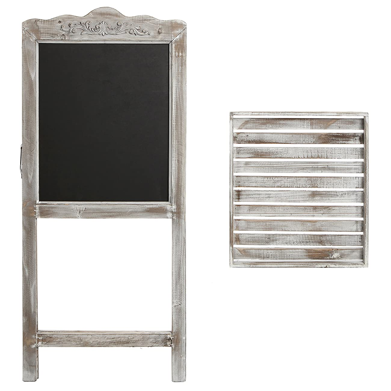 Decorative Vintage White Washed Brown Wood Large Freestanding Chalkboard Message Board Easel - MyGift 2