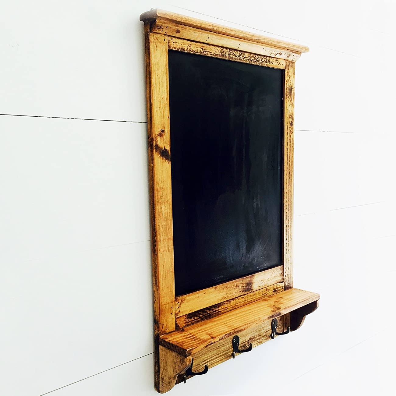 The Stockbridge Chalkboard with Shelf and Coat Hooks, Rustic Pine, Natural Color Wood with Vintage Style Distressed Finish, Brass Hardware, 3 7/8 D x 17 ¾ W x 28 ¼ H Inches, By Whole House Worlds 3