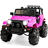 Best Choice Products 12V Ride On Car Truck w/ Remote Control, 3 Speeds, Spring Suspension, LED Light - Pink (Color: Pink)