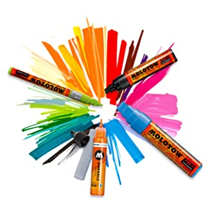 Molotow ONE4ALL Acrylic Paint Marker Set, 10 Basic Colors #2, 2mm (200.451) (Color: 10 Basic Colors #2, Tamaño: 2mm)