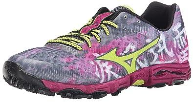 Mizuno Women's Wave Hayate Trail Running Shoe, Turbulence/Green Glow, 6 B US