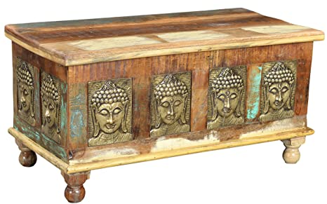 The Wood Times Couchtisch Tisch Massiv Vintage Look Buddha Holz FSC Recycled, LxBxH 90x45x45 cm
