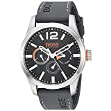 BOSS Orange Men's 'Paris' Quartz Stainless Steel and Silicone Casual Watch, Color Grey (Model: 1513251)
