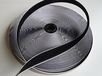 1 Role Velcro Bande De Toison Auto Adha Sive Noir 25 M X
