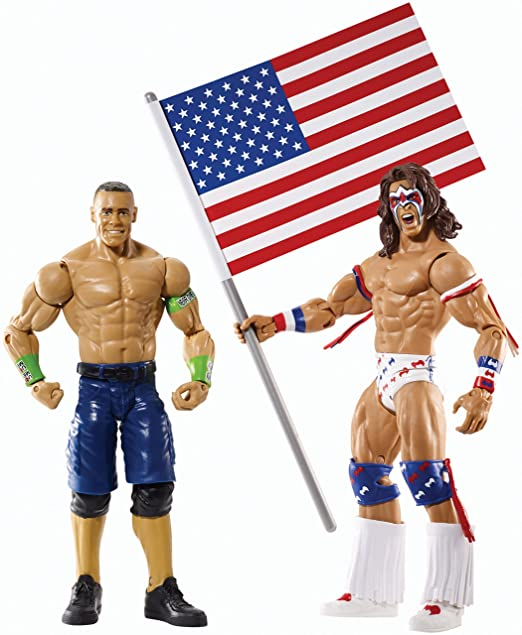 WWE Wrestling Battle Pack JOHN CENA & ULTIMATE WARRIOR (Includes United States Of America Flag)