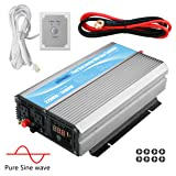 GIANDEL 2200W Pure Sine Wave Power Inverter 12V DC to 120V AC 20A Solar Charge Control Remote Control&LED Display Dual AC Outlets &1x2.4A USB Port RV Truck Car Solar System (Color: Silver, Tamaño: 2200W/12V)