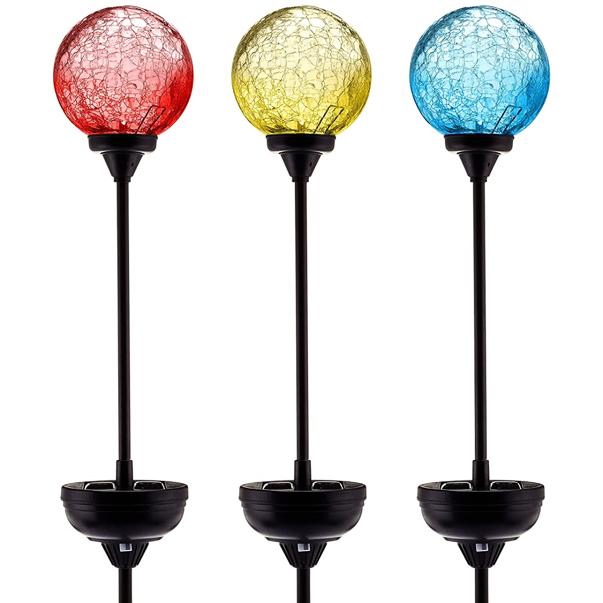 Solar Garden Stake Lights 3-Pack! - Cracked Glass LED Outdoor Patio Yard Art Statue Fairy Fountain Gnome Stained Lawn Sign Decor Ornaments - Color-changing Gazing Moonray Lamp Balls
