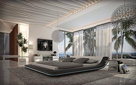 Polster-Bett 200x200 cm schwarz aus Kunstleder mit blauer LED-Beleuchtung | Otsuc | Das Kunst-Leder-Bett ist ein edles Designer-Bett | Doppel-Bett 140 cm x 200 cm in Leder-Optik, Made in EU