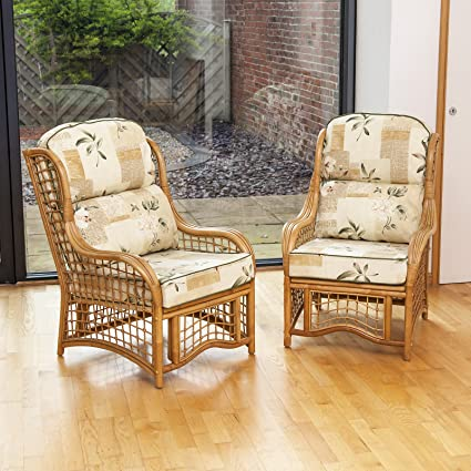 Alfresia 2 Bali Cane and Square Lattice Conservatory Armchairs with Luxury Cushions (Harrogate Natural)
