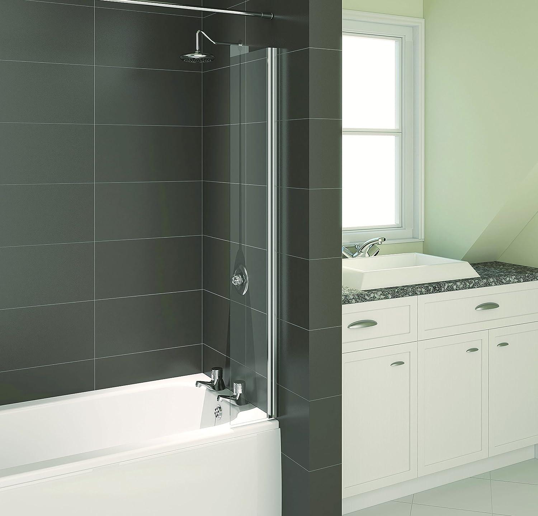 Aqualux 200mm Shower Bathroom Bath Splash Guard Door Screen Silver Glass New Ebay