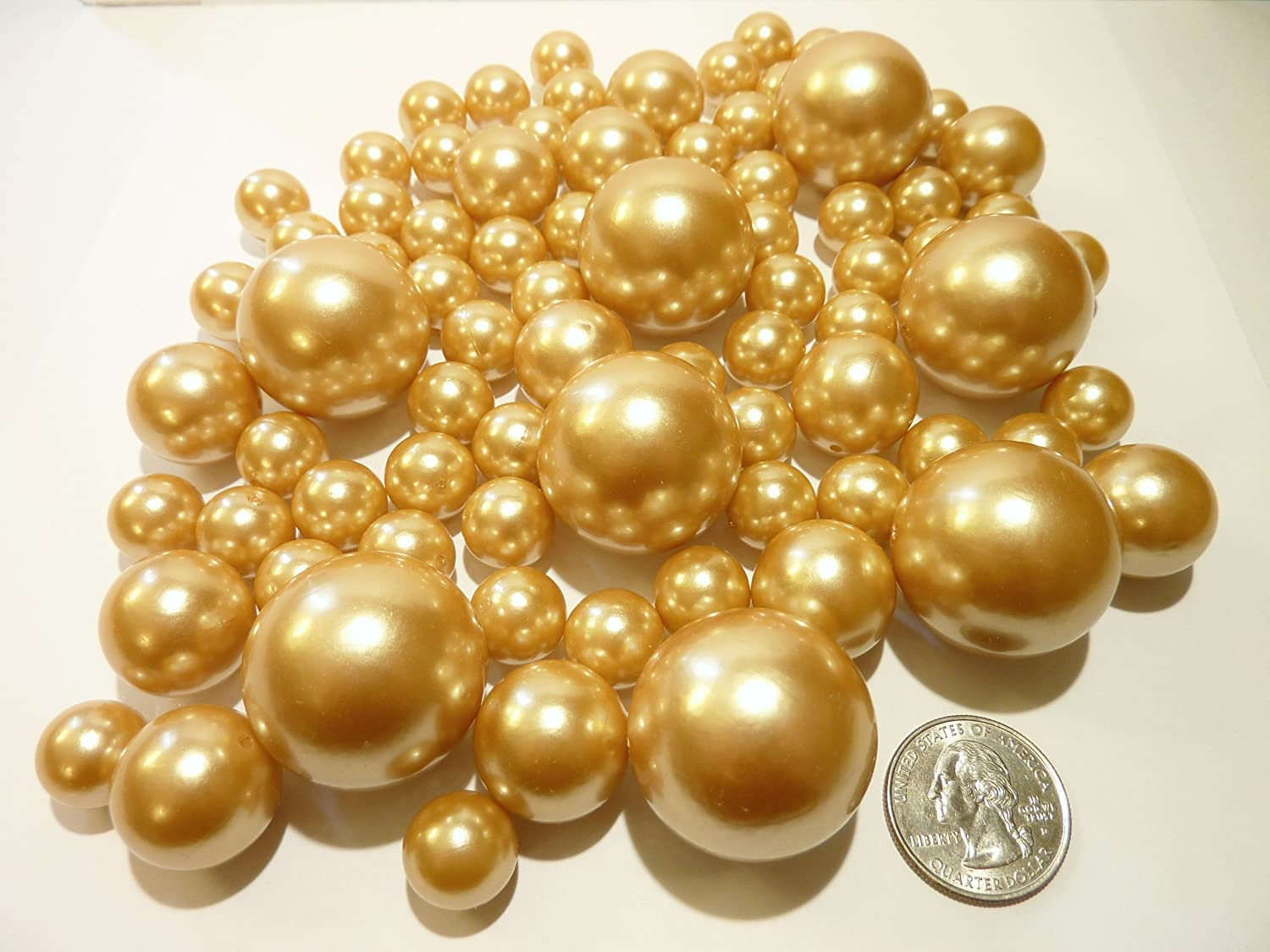 Unique Jumbo & Assorted Sizes 80 Pieces All Gold Pearls Value Pack Vase Fillers