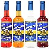 Torani SugarFree Syrup Variety Pack, Soda Flavors, 4 Count, SF Strawberry, SF Peach, SF Coconut and SF Raspberry (Tamaño: 25.4 Fl. Oz (Pack of 4))