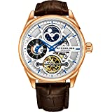 Stuhrling Original Men's Luxury Skeleton Dress Watch, Automatic Wristwatch, Rose Gold Accents and Silver Dial, Brown Leather Calfskin Band (Color: Rose Gold)