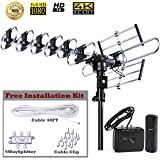 FiveStar Outdoor HD TV Antenna Strongest Up to 200 Miles Long Range with Motorized 360 Degree Rotation, UHF/VHF/FM Radio with Infrared Remote Control Advanced Design Plus Installation Kit (Color: Antenna+Kit)