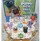 Disney Puppy Dog Pals Deluxe Cake Toppers Cupcake Decorations Set of 14 with Figures, 2 Skateboards, PAW Tattoo and Pals Sticker Featuring ARF, Bingo, Rolly and Friends. (Color: Various Colors)