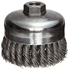 "Weiler Wire Cup Brush, Threaded Hole, Steel, Full Twist Knotted, 4"" Diameter, 0.023"" Wire Diameter, 5/8""-11 Arbor, 1-1/4"" Bristle Length, 9000 rpm (Pack of 1)"