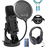 Samson G-Track Pro USB Microphone with Audio Interface Bundle with Samson SR350 Headphones, Blucoil 6' 3.5mm Extension Cable, 3-FT USB 2.0 Extension Cable, Pop Filter Windscreen, and 5X Cable Ties