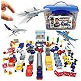 Deluxe 57-Piece Kids Airport Playset in Storage Bucket with Toy Airplanes, Play Vehicles, Police Figures, and Accessories