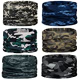 Headwear,Head Wrap, Neck Gaiter, Headband, Fishing Mask, Magic Scarf, Tube Mask, Face Bandana Mask, Neck Balaclava and Sport Scarf 12 in 1 Headband Sweatband for Fishing, Hiking, Running, Motorcycling (Color: 6PCS-Camouflage-2)