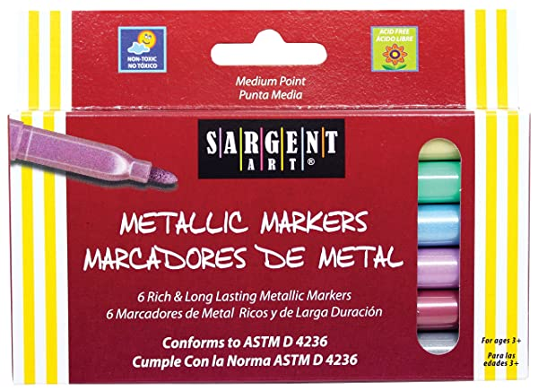 Sargent Art 22-1506 Liquid Metals Medium-Point Metallic Markers, 6 Count