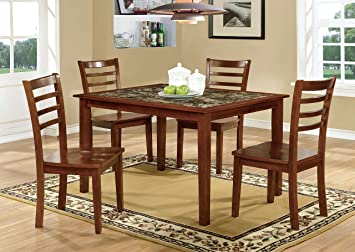 Furniture of America Venice 5-Piece Faux Marble Top Dining Set, Antique Oak