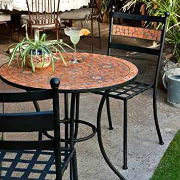 Black Modern 3 Piece Gramercy Home Mosaic Patio Bistro Set | Perfect Contemporary Conversation Furniture Set for Your Home Outdoors by the BBQ Grill, Gazebo, Garden, Backyard or Firepit | Durable Rust Resistant Iron Frame and Maintenance Free