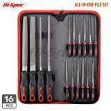 Hi-Spec All-In-One 16 piece Carbon-Steel File Set with 200mm Flat, Half-round, Round, Triangle Files & 8 x Needle Files for Wood, Metal, Leather, Chipped Glass & Ceramics, Model & Hobby Applications