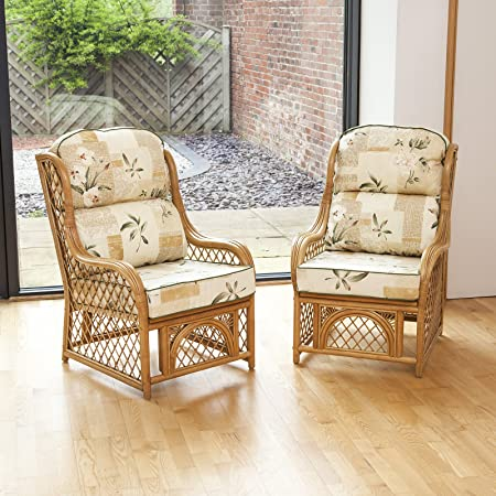 Conservatory Cadiz Cane Natural Chair With Cushion 2 Pack - Harrogate Natural