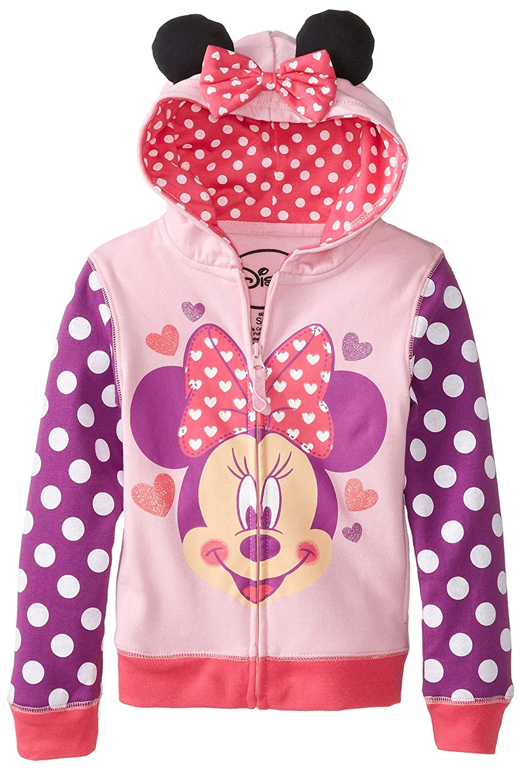 Disney Little Girls' Minnie Heart Bow Hoodie princess bottle cap minnie kids hair bows with clips pin hairclip for girls barrette bow clip hairpins hair accessories hairbows
