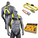 KwikSafety (Charlotte, NC) TORNADO COMBO | 1 D-Ring Full Body Safety Harness, 6' Lanyard, Tool Lanyard, ANSI OSHA PPE Fall Protection Arrest Restraint Equipment Universal Construction Roofing Bucket (Color: Harness + Lanyard, Tamaño: COMBO (save $5))