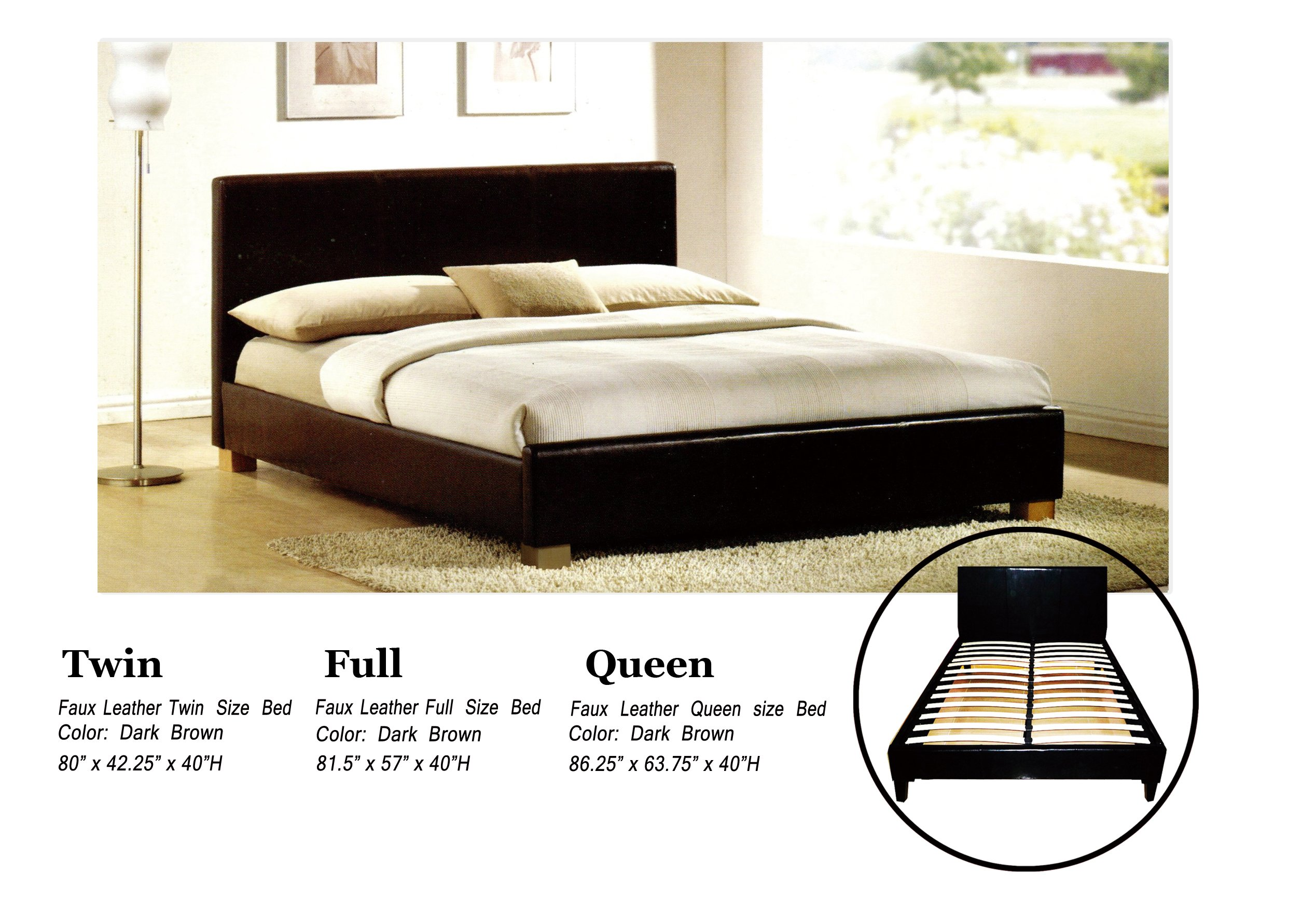 faux leather platform bed with built in box spring and headboard full
