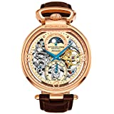 Stührling Original Mens Rose Gold Tone Skeleton Watch - Silver Dial with Gold and Blue Accents - Brown Leather Band with Deployant Clasp - AM/PM Sun Moon Indicator, Dual Time, mens watches 889 collect (Color: Rose Gold)