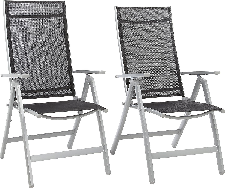 GARTENFREUDE Gartenmöbel Aluminium Garten Klappsessel 2-er Set Sessel mit Textilgewebe, 7-fach verstellbar, wetterfest