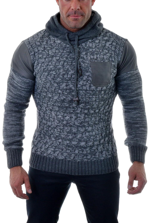 Herren Pullover Pullover mit Kapuze Strickwaren Kunstleder Wolle starke Winter Warm Grey günstig