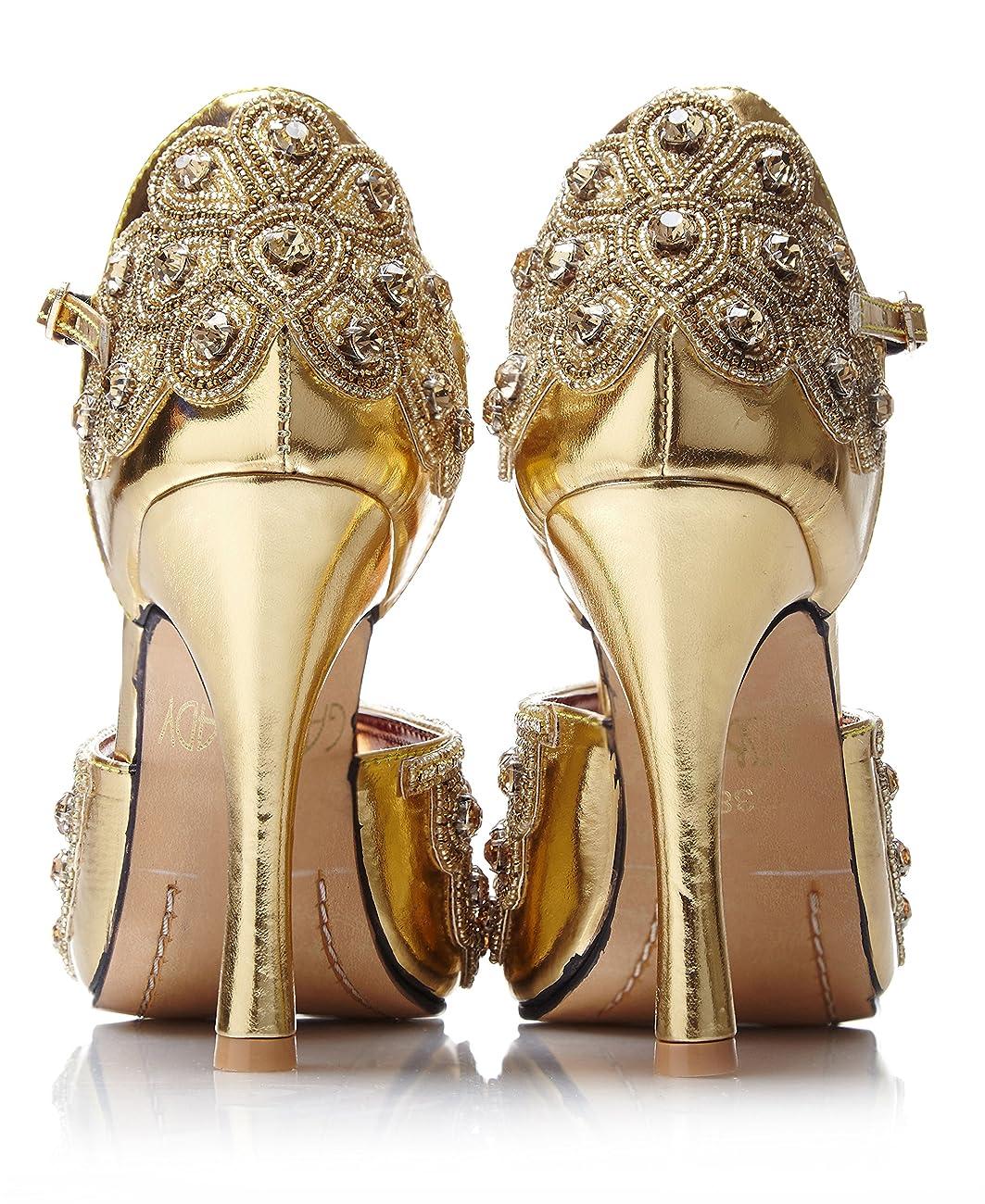 Donna Vintage Inspired T-Strap Heels in Gold 2