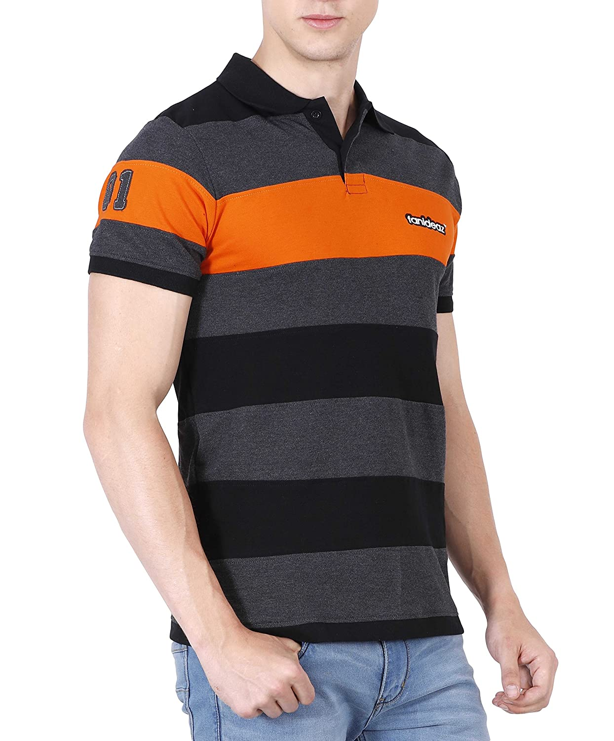 Design your t shirt india - Fanideaz Men S Half Sleeve Royal Striped Polo T Shirt With No 1 Applique