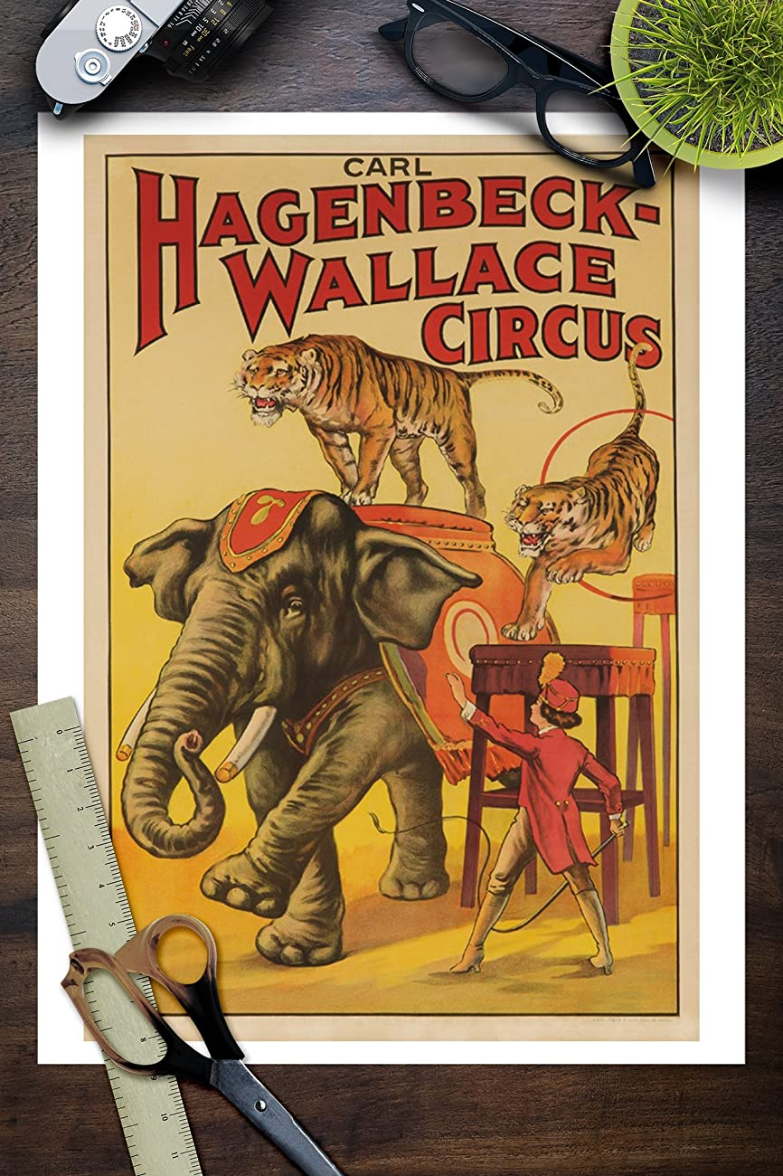Hagenbeck - Wallace Circus (elephant and tigers) Vintage Poster USA c. 1933 (9x12 Collectible Art Print, Wall Decor Travel Poster) 2