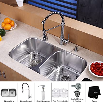 Kraus KBU22-KPF1612-KSD30CH 32 inch Undermount Double Bowl Stainless Steel Kitchen Sink with Chrome Kitchen Faucet and Soap Dispenser