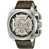 Diesel Men's 'BAMF' Quartz Stainless Steel and Leather Casual Watch, Color:Green (Model: DZ7367) (Color: Gold)