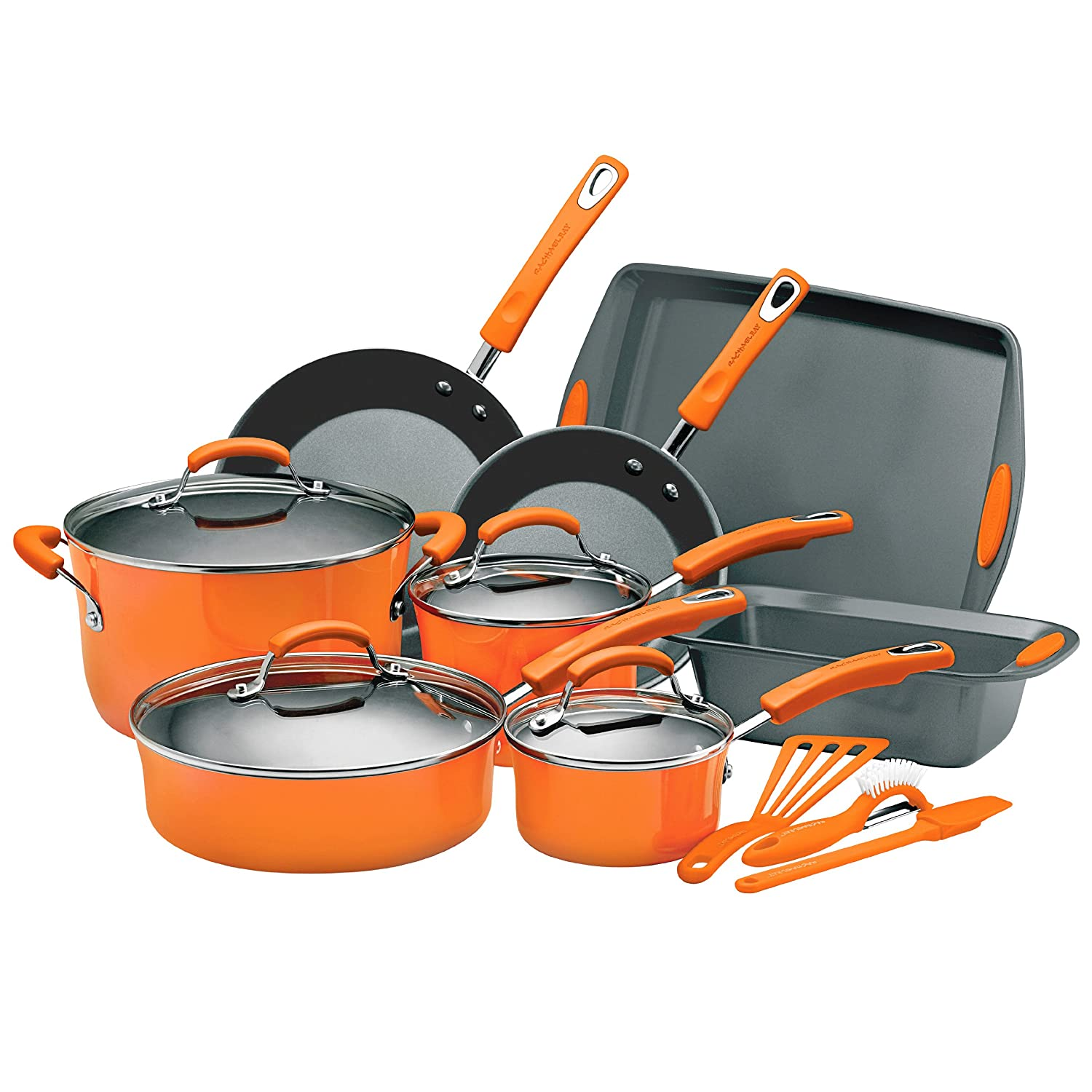 Rachael Ray Porcelain Enamel II Nonstick 15-Piece Cookware Set, Orange $89.00