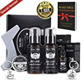 Upgraded Beard Shampoo Wash & Conditioner, Oil, Balm Softener Care Set Grooming kit, Perfect Gifts for Men Him Boyfriend Dad, Best for Beard Rapid Growth and Thickening, Template Shaper (Color: Beard Care Kit, Tamaño: 1 Pack)