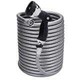 Morvat 100 Foot Stainless Steel Garden Hose with Shut-Off Valve | Heavy Duty Metal | Resistant to Knots, Tangles and Punctures | Includes: 10-Way Spray Nozzle + Heavy-Duty Metal Hose Hanger (Color: With Nozzle, Tamaño: 100 Foot)
