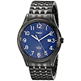 Timex Men's T2P203 Woodcrest Drive Black Stainless Steel Expansion Band Watch (Color: Black/Blue Textured)